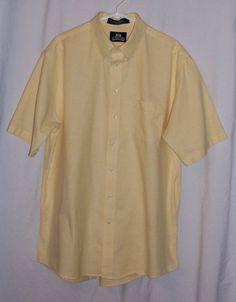 Sz 17 1/2 or XL Stafford Wrinkle Free Short Sleeve Yellow Dress Shirt #Stafford
