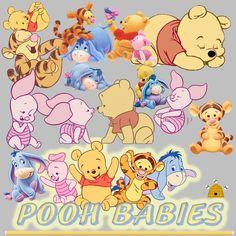 Pooh Babies Disney Clip Art Collection Lot of Over 90 - It's Free! : ScrapPNG, Digital Craft Graphics