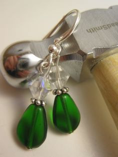 Kelly Green Glass Bead Earrings with Pewter by Sparkleandswirl, $8.00