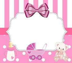 Baby Shower Niño, Baby Shower Invites For Girl, Baby Shower Cards, Tarjetas Baby Shower Niña, Imprimibles Baby Shower, Minnie Mouse Baby Shower, Baby Mouse, Baby Shower Background, Baby Stickers