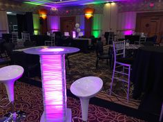 Cocktail table tower with purple lighting Central Illinois, Cocktail Tables, Iowa, Wedding Designs, Events, Lighting, Purple, Light Fixtures, Lights