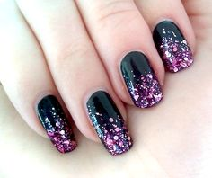 black nails gradient to pink glitter - schwarze Nägel mit pinkem Glitzer-Farbverlauf - catrice - 39 Black to The Routes