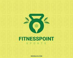 Abstract logo in the shape of a weight kettle in conjunction with leaves and a map icon with green colors.( sports, point, fitness, leaf, academic, kettle, gym, vegetarian, power, nature, map,  logo for sale, logo design, logo, lototipo, logotype).