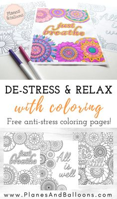 Coloring pages STRESS relief are the best way to relax! Part of a series of coloring pages for GROWN UPS who need to relax and unwind. Get these free printable coloring pages today! Coloring Pages For Grown Ups, Free Adult Coloring Pages, Free Printable Coloring Pages, Coloring Book Pages, Coloring Sheets, Abstract Coloring Pages, Mandala Coloring, Hand Coloring, Kit Bebe