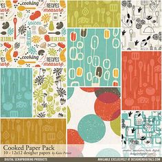 Cooked Paper Pack - Digital Scrapbooking Papers DesignerDigitals