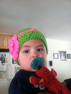 Lime green and hot pink crochet baby beanie with a button to set it off....my baby love!