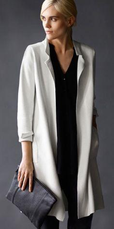 Eileen Fisher Notched Long Jacket in Bone