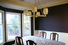 traditional dining room with dark brown walls Martha Stewart Paint, Dark Brown Walls, Gold Chandelier, Kalamata Olives, Color Inspiration, Master Bathroom, Color Combinations, Paint Colors, New Homes