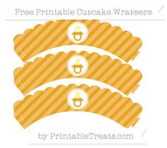 Free Marigold Diagonal Striped  Baby Pacifier Scalloped Cupcake Wrappers