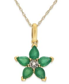 10k Gold Necklace, Emerald (3/4 ct. t.w.) and Diamond Accent Star Pendant | macys.com