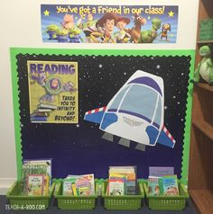 Fun Buzz Lightyear reading corner.  You could add stars with the kids names on them!