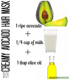 Top 5 Easy Homemade Hair Mask Recipes for Beautiful Hair This creamy homemade avocado hair mask is perfect for restoring bounce to dry, brittle hair.This creamy homemade avocado hair mask is perfect for restoring bounce to dry, brittle hair. Pelo Natural, Natural Hair Tips, Natural Hair Styles, Stop Hair Breakage, Diy Hair Mask, Hair Masks, Diy Hair Treatment, Hair Treatments, Avocado Hair