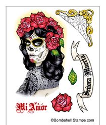 Bombshell Stamps - Sugar Skull Stamps, Dia de los Muertos Stamps, Day of the Dead Stamps, Halloween Stamps