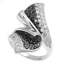 Casey's Calla Lily Brilliant Cut Black Cubic Zirconia Fashion Ring