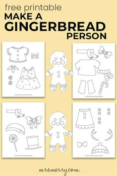 Make a Gingerbread Kid Craft - Mrs. Merry Christmas Worksheets, Christmas Activities For Kids, Indoor Activities For Kids, Kids Christmas, Boredom Busters For Kids, Kindergarten Activities, Gingerbread Man, Free Printables, Merry