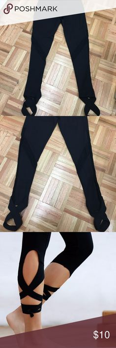 LAST SIZE!!!!!! Wrap+ lace dancer leggings BLACK WILLING TO WORK WITH OFFERS :)  These super cute and trendy leggings have a pre-wrapped band that you slip your foot into and you are ready to go! Mesh detail along the side seam and some patterned lace on the front and back of the thighs, these leggings are a steal for only $10! Only one size left!!!! Available in Black. Rune NYC Pants Leggings