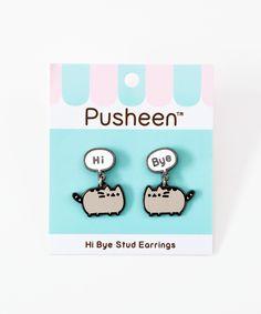 Hi Bye Pusheen Stud Earrings – Pusheen Shop Bar Stud Earrings, Rose Gold Earrings, Unique Earrings, Bridal Earrings, Flower Earrings, Crystal Earrings, Beaded Earrings, Wedding Gifts For Women, Silver Bars