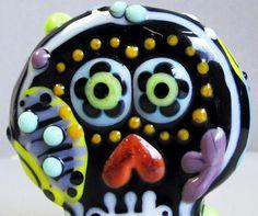 Flower-Eyed Shadow Skull-Handmade Lampwork Glass by BeadygirlBeads
