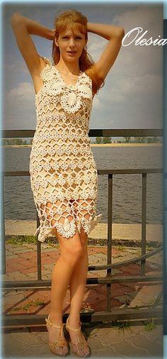 Lovely open crochet pattern dress...