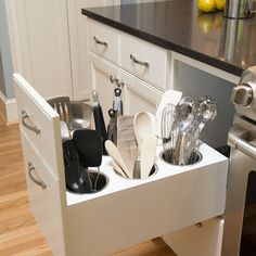 Pulling Power: Clever Drawer Tactics for a Kitchen.Would end the clutter of the utensil drawer.