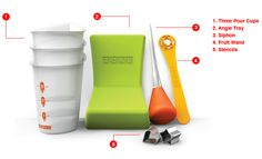 Neatly pour juice and make flavored core pops, apply fruit slices and stenciled cut-outs or make pops with cool angles with our Zoku Tool Kit.