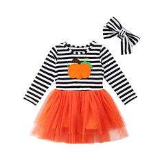 fd84c9c3ca Toddler Girl Halloween Costumes Long Sleeve Pumpkin Striped Tulle Dress  Skirts with Headband Outfits Sets Best Halloween Costumes & Dresses USA