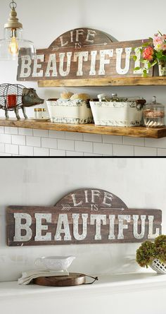 Life is beautiful inspirational wall decor, perfect for my dining room! #wallart #rusticdecor #farmhousestyle #walldecor #affiliate