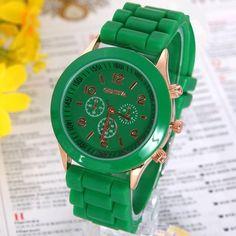 Gnova Platinum Classic Silicone Women Watch Golden Geneva style wristwatch Silicon Rubbe casual dress Girl Fashion A276