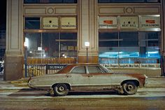 This image just gives me a feeling.  Photograph by Langdon Clay. Subway Impala, Chevrolet Impala, 7th Avenue and 29th Street, 1975.