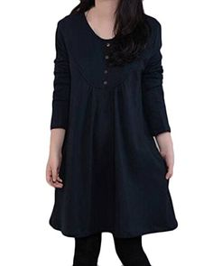 ZANZEA Women's Casual Crew Neck Long Sleeve Button Pocket Oversize Short Mini Dress Dark Blue US 10/ASIAN XL. Product Description:Round Collar,Long Sleeve,Two Front Pocket. Soft And Comfortable To Wear,An Essential For Every Fashion Women Or Girl. Occasion: Suitable For Party,Holiday,Beach,Club Or Just Daily Wear. Plus Size Design With Pockets,Give You Wonderful Autumn/Spring. Please Refer To The Size Details Before You Purchase.( 2cm/1 inch Inaccuracy May Exist Due To Hand Measure.).