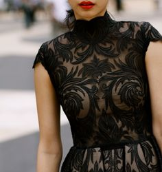 love the Black Lace AND the red lipstick.
