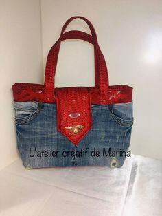 Sac Madison jeans recyclé et simili rouge cousu par L'atelier créatif de Marina - Patron sacôtin www.sacotin.com