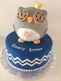 Owl baby shower cake - Gallery   Sugar Divas Cakery   Orlando   Cupcakes   Custom Cakes