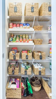 Organized pantry before and after for tiny closets with wire shelving #organization #pantryorganization #pantry