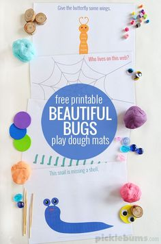 FREE bug playdough mats. Great for building imagination and fine motor skills.