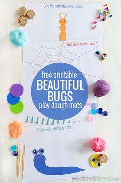 Beautiful Bugs! Free printable play dough mats