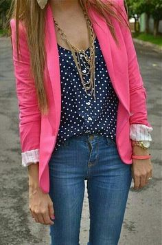 Pink blazer, navy dotted shirt and jeans