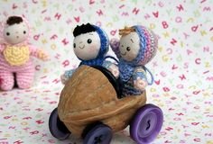 .walnut shell doll car