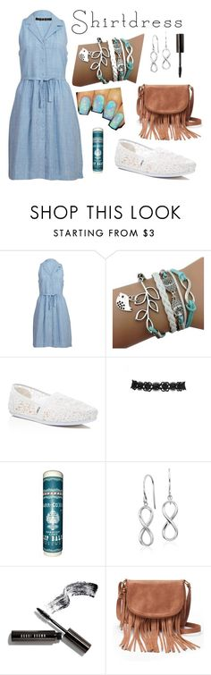 """""""Blue shirtdress"""" by midnight-crow ❤ liked on Polyvore featuring Bibico, TOMS, Blue Nile, Bobbi Brown Cosmetics and Apt. 9"""