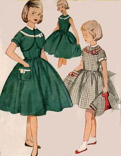 1950s Girls Party Dress Simplicity 4588 with Bolero 50s Girls Vintage Sewing Pattern Size 7 by sandritocat on Etsy