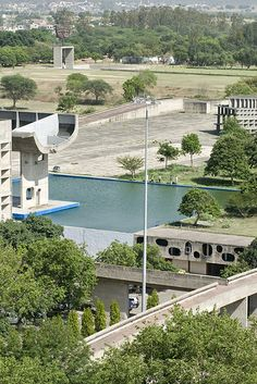 Parliament Building (foreground), monument of the open hand  Punjab governmental complex, Chandigarh 1951-65    Architects:  Le Corbusier (Charles-Edouard Jeanneret)