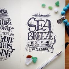 The Sea Breeze is Perfume to My Soul Calligraphy Letters, Typography Letters, Typography Design, Hand Lettering Styles, Hand Drawn Lettering, Hermes Perfume, Hand Type, Text On Photo, Sketchbook Inspiration
