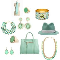 Love myself some light blue/green accessories! Created by carrloud on Polyvore.