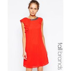 Little Mistress Tall Embellished Neck Overlay Shift Dress ($58) ❤ liked on Polyvore featuring dresses, orange, red embellished dress, embellished shift dress, red shift dress, shift dress and tall dresses