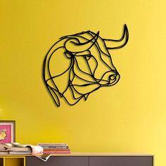 Bull Head Wooden Wall Art - modern line drawing wall decor