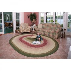 Homespice Decor Cotton Braided English Garden Oval Rug  - would love this if/when we get rid of our carpeted floors.