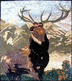 """28x32"""" Mighty Deer Marble Mosaic Stone Art Wall Deco by Mozaico. $340.00. Completely hand-made. Mesh backing. All natural stones. Uses and display locations are unlimited!. Design can be customized as to size and / or design. Mosaics have endless uses and infinite possibilities! They can be used indoors or outdoors, be part of your kitchen, decorate your bathroom and the bottom of your pools, cover walls and ceilings, or serve as frames for mirrors and paintings."""