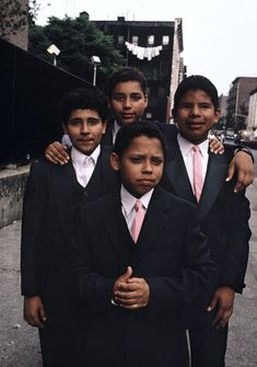 Four young boys wearing suits and ties in Spanish Harlem ~ Joseph Rodriguez New York Neighborhoods, Spanish People, Gordon Parks, Classic Photography, Black Power, Color Of Life, People Photography, Back In The Day, The Neighbourhood