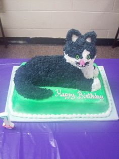 """Only pic - used """"the Wilton 3d lamb pan and modified it, cut the lamb ears off and added fondant shaped ears. Used a 6 in round pan to cut and shape the legs and tail."""""""