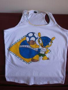 Nadador com Mascote - Bandeira do Brasil